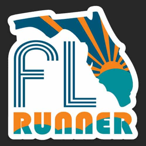Florida Running Sticker, Florida Runner Sticker on dark background