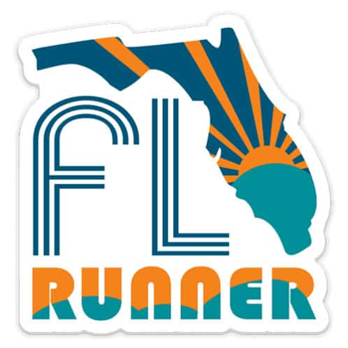 Florida Running Sticker, Florida Runner Sticker on light background