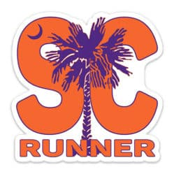 South Carolina Running Sticker Orange & Purple, South Carolina Runner Sticker Orange & Purple on light background