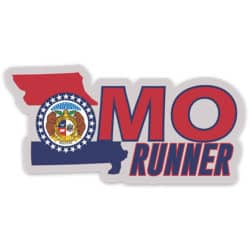 Missouri Running Sticker, Missouri Runner Sticker on light background